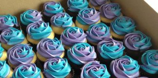 Blue and purple wedding cupcakes