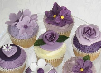 Purple Flower Cupcakes