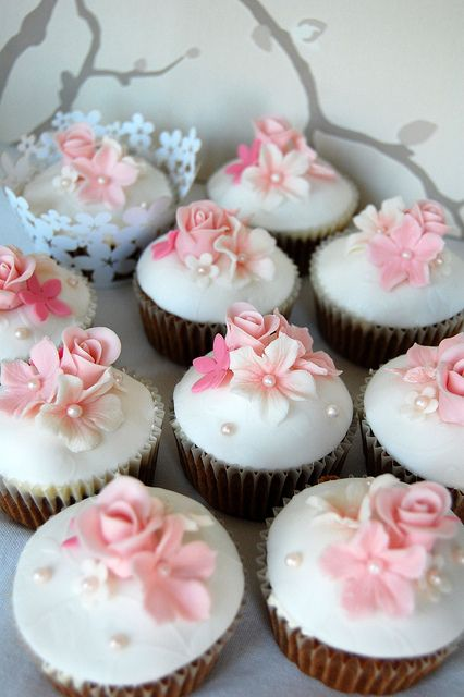 Soft Pink Floral Cupcakes