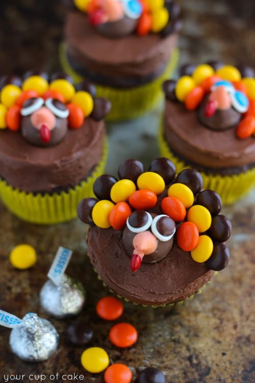 Turkey Face Chocolate Cupcakes