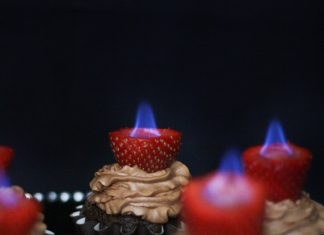Flaming Strawberry Cupcake