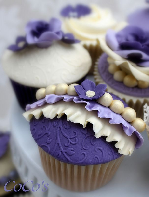 Ruffles And Pearls Cupcake