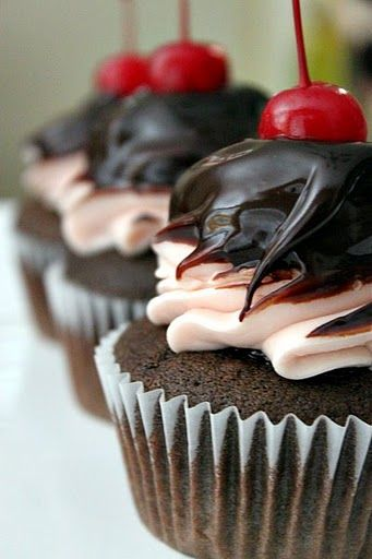 Chocolate Ganache Cherry Cupcakes