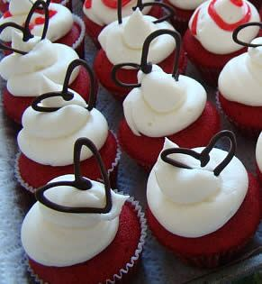 Chocolate Heart Red Velvet Cupcakes