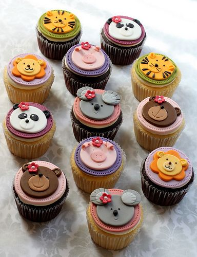 Cute Animal Topped Cupcakes