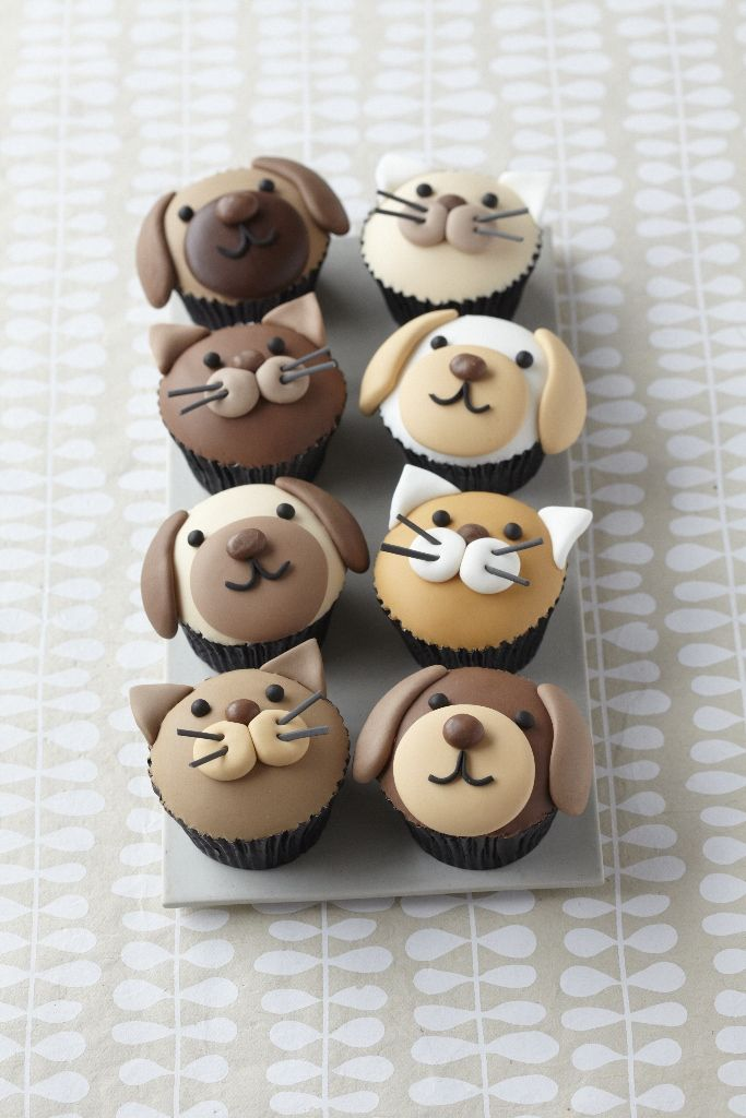 Cute Puppy Dog And Kitty Cupcakes