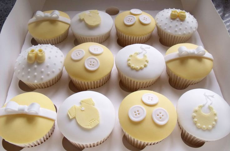 Cute Yellow Baby Shower Cupcakes
