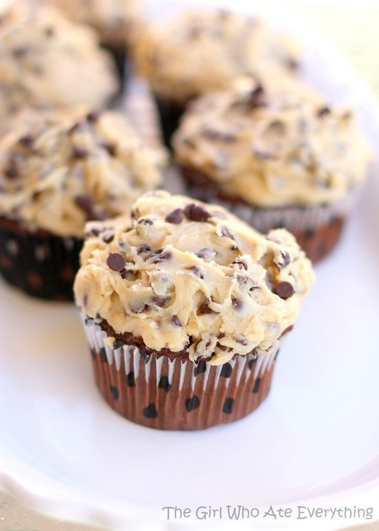 Delicious Chocolate Chip Cookie Dough Cupcakes