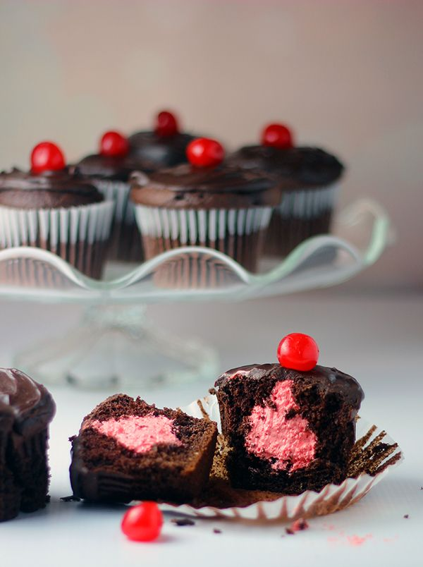 Double Chocolate Cherry Cupcakes