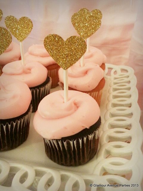 Gold Heart Cupcakes