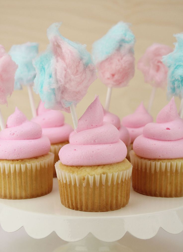 Pretty Pink Cotton Candy Cupcakes
