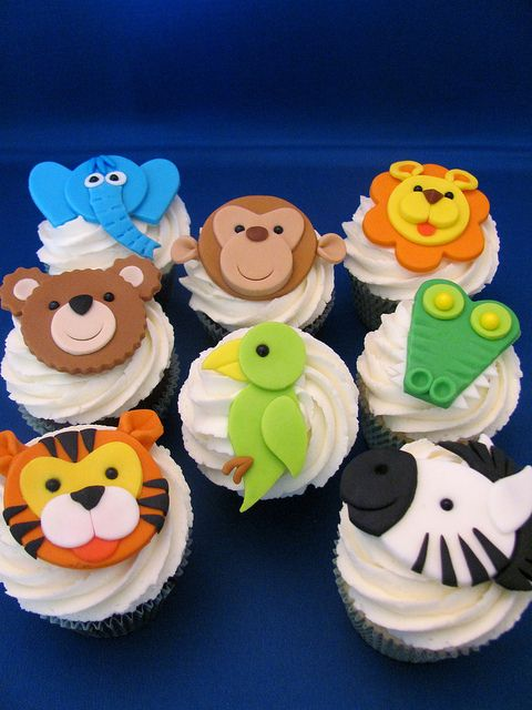 Safari Animal Topped Cupcakes