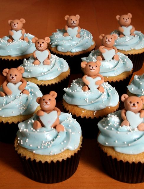 Teddies Holding Hearts Cupcakes