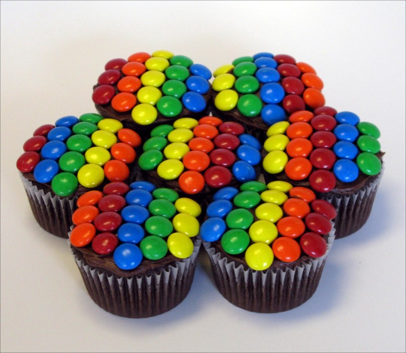 Chocolate Rainbow Cupcakes