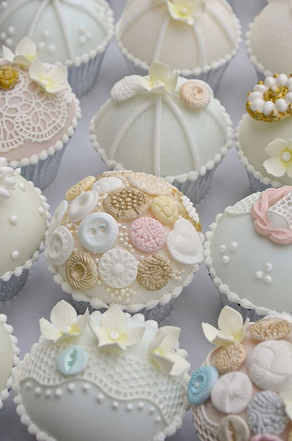Lace And Buttons Wedding Cupcakes