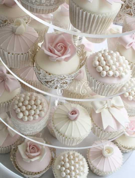 Roses And Pearls Wedding Cupcakes