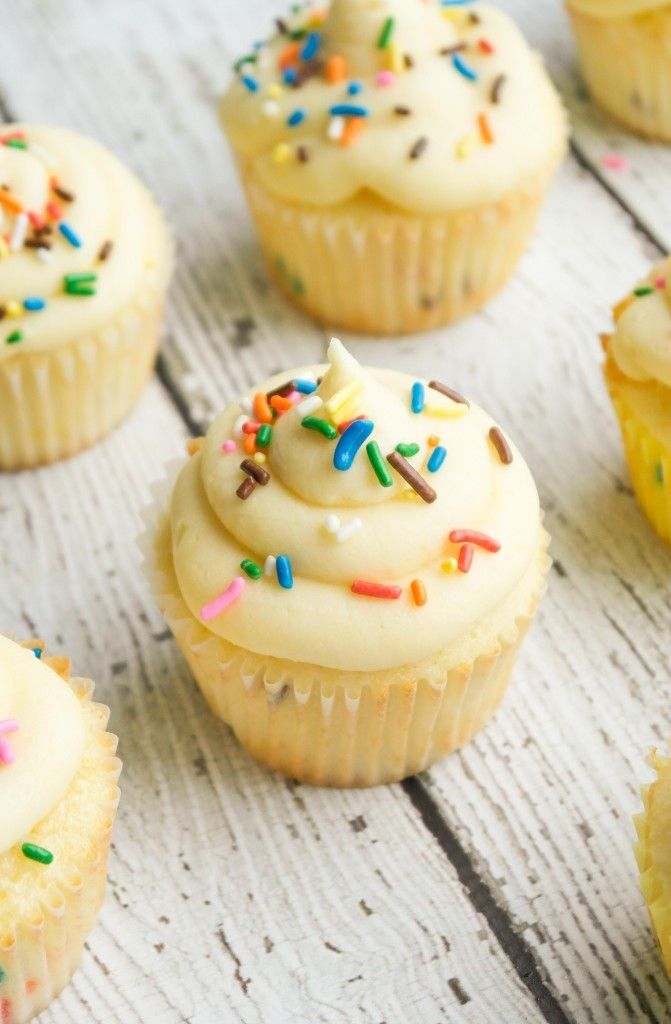 Batter Frosted Funfetti Cupcakes