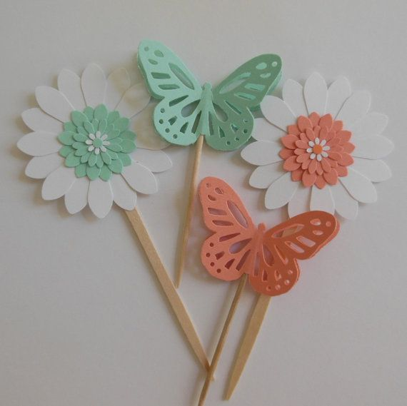 Beautiful Butterfly and Flower Cupcake Toppers
