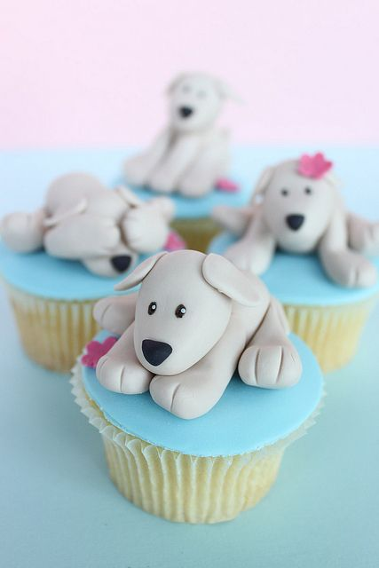 Beautiful Puppy Topped Cupcakes