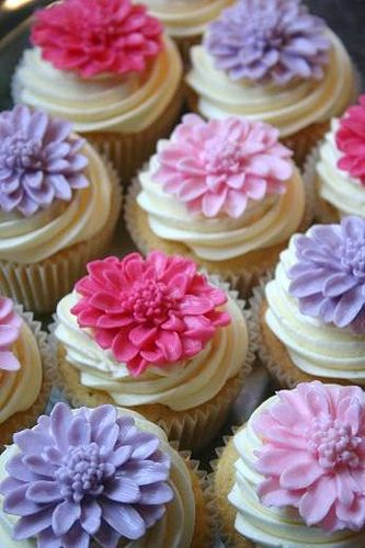 Beautiful Purple and Fuchsia Cupcakes