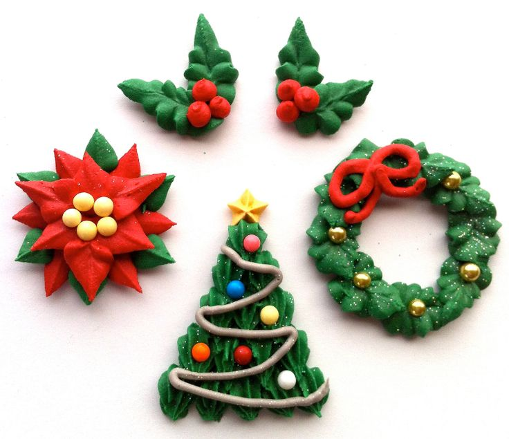 beautiful royal icing christmas cupcake toppers - Christmas Toppers