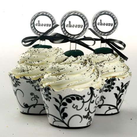 Black and White Party Cupcake