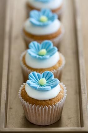 Blue Fondant Flower Cupcake Toppers