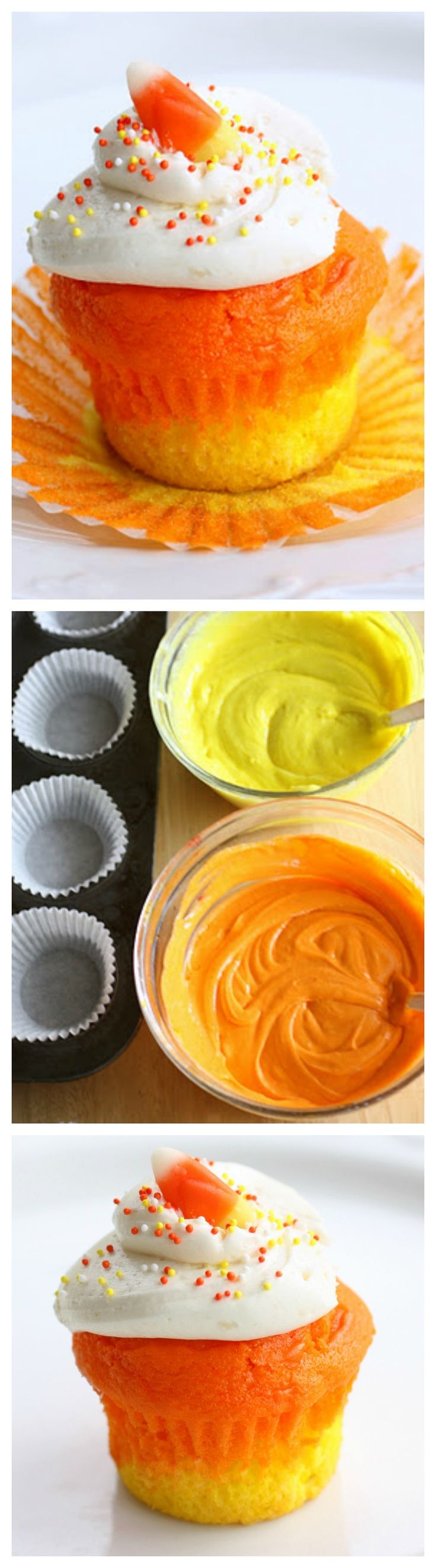 Candy Corn Colorful Cupcakes