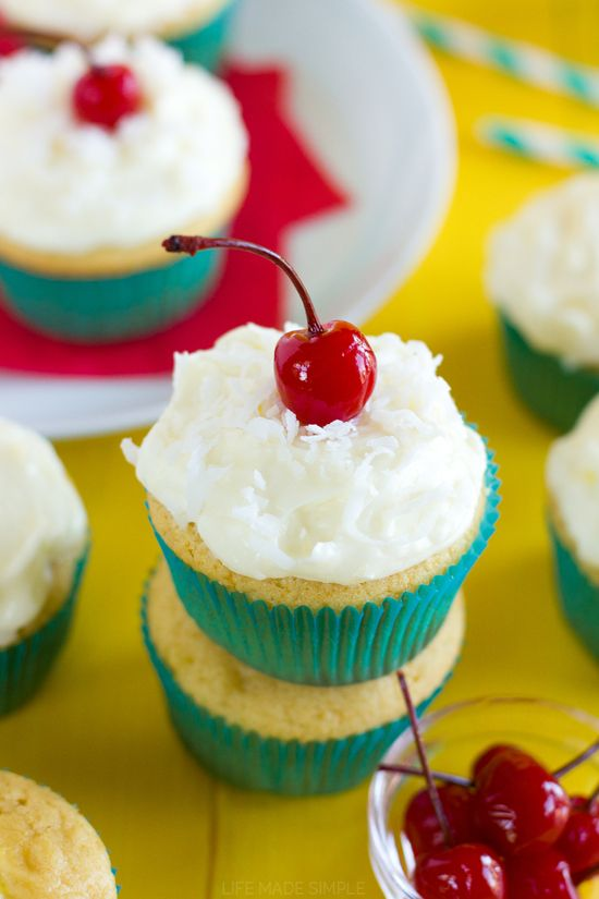 Cherry Topped Pineapple Cupcakes