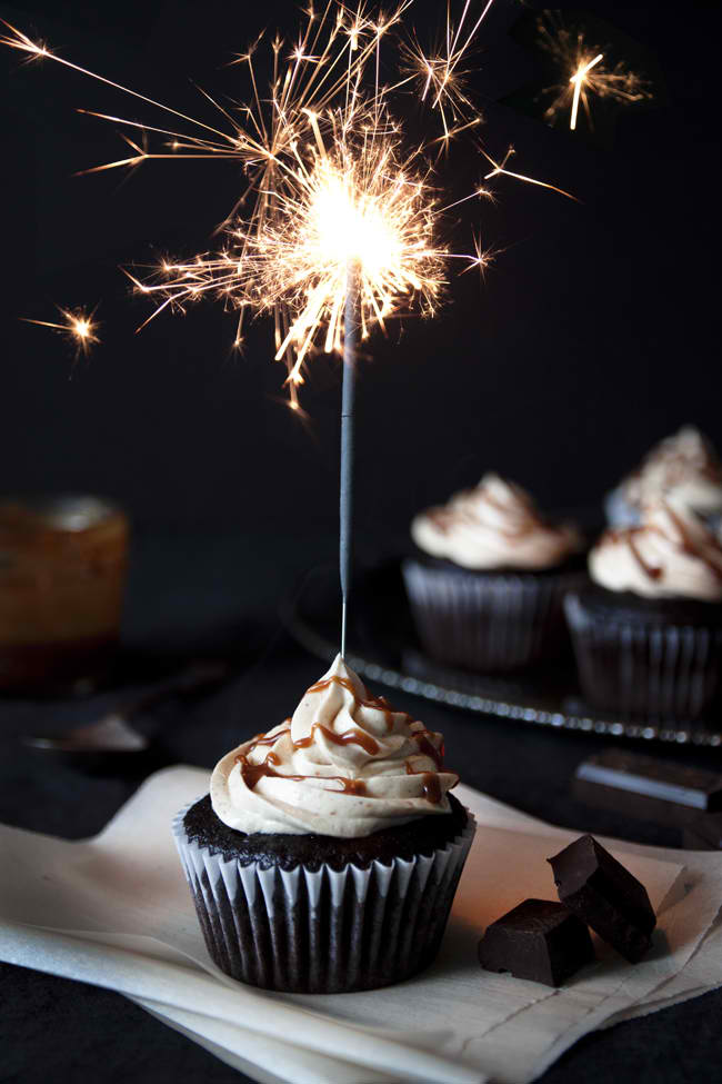 Chocolate cupcakes with peanut butter Swiss meringue buttercream