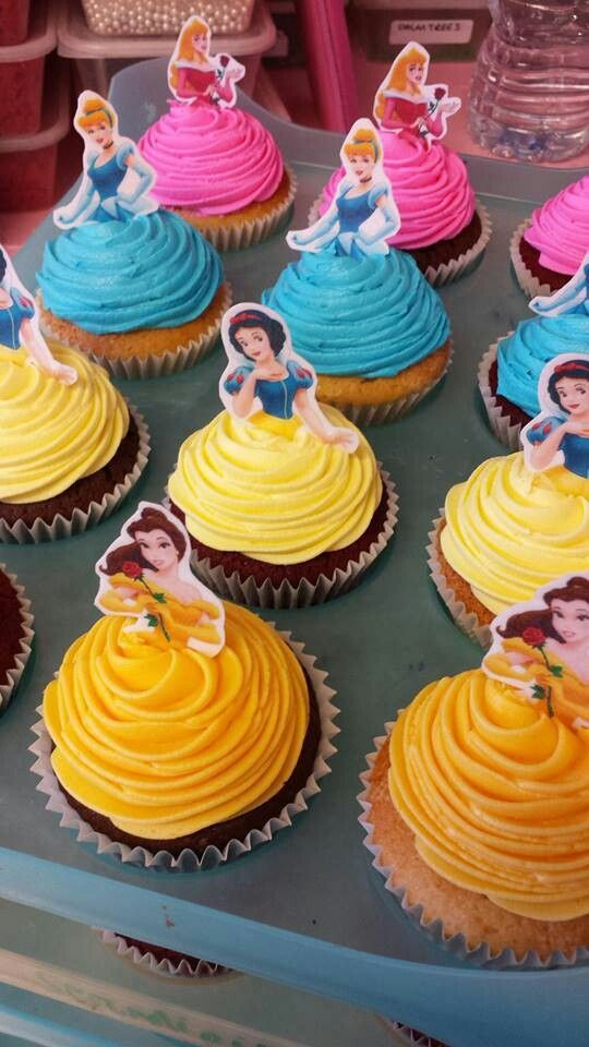 Colorful Disney Princess Party Cupcakes