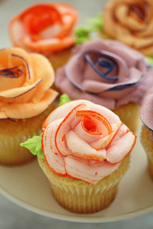 Colorful Rose Cupcakes