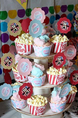 Cotton Candy and Popcorn Cupcakes