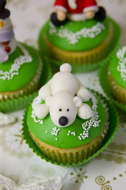 Cute Doggy Christmas Cupcake Toppers
