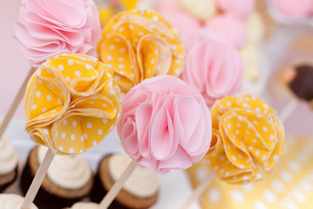 Cute Fabric Flower Cupcake Toppers