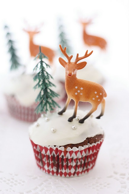 Deer and Christmas Tree Cupcake Toppers