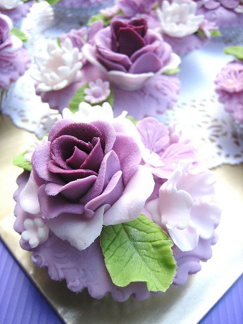 Epic Purple Rose Cupcakes