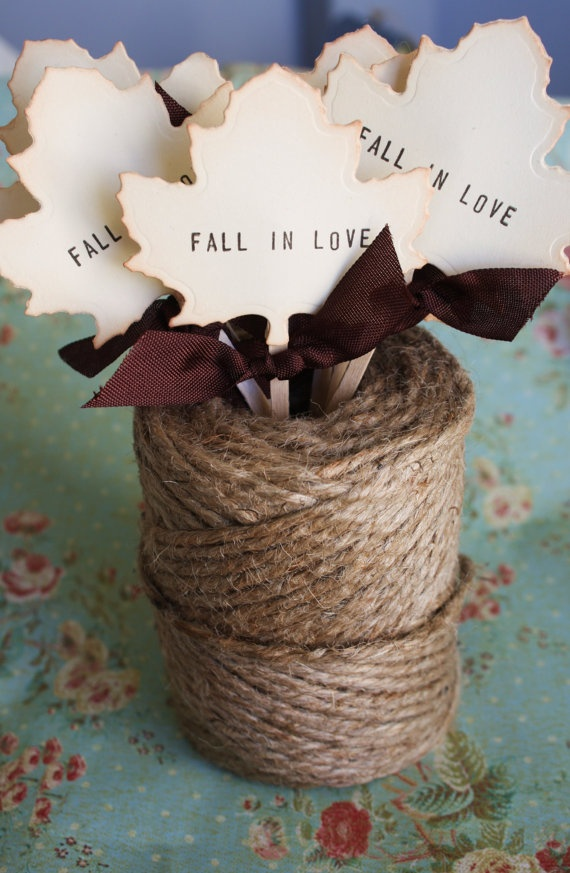 Fall in Love Cupcake Topper for Wedding