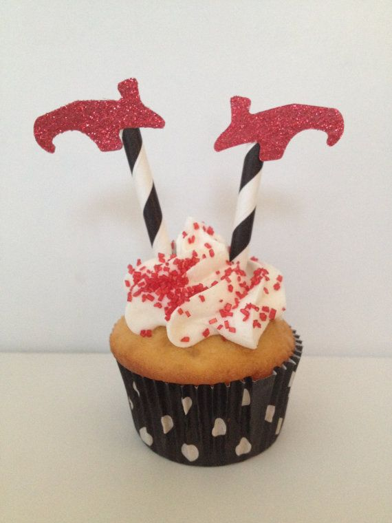 Glittered Witch Shoes Cupcake Toppers
