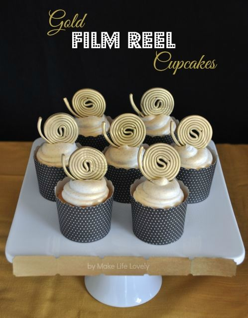 Gold Film Reel Cupcakes