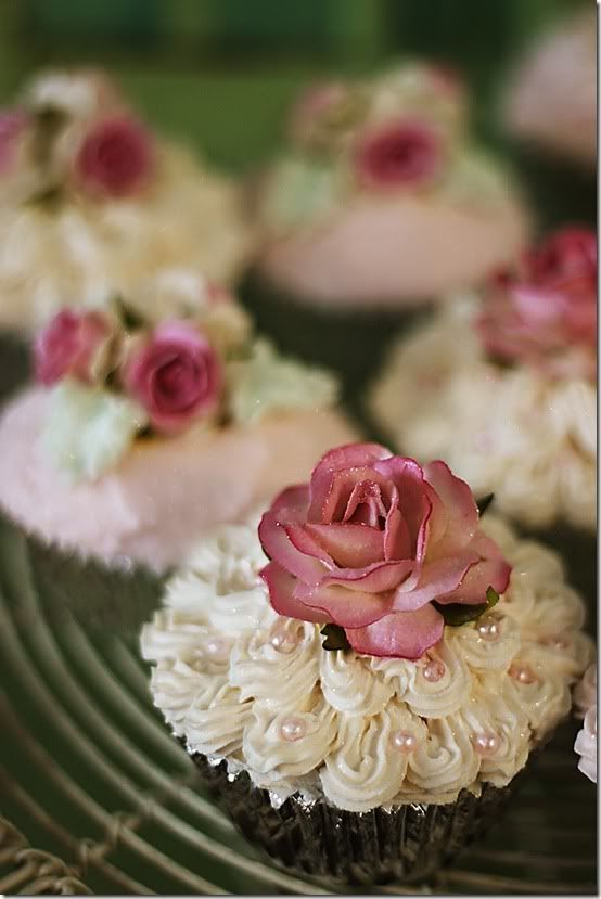 Gorgeous Rose and Pearls Cupcakes