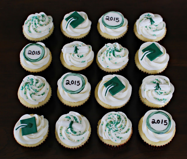 Grad Cupcakes Themed in Green
