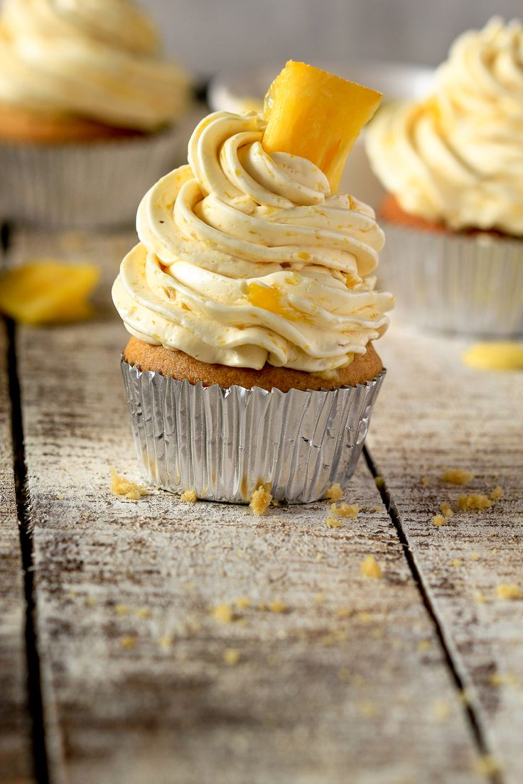 Grapefruit Curd Frosted Pineapple Cupcakes