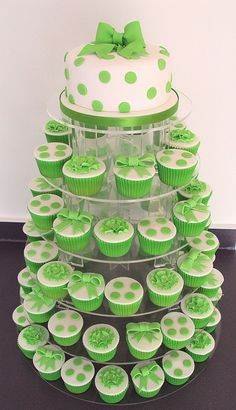 Green Bow Cupcakes