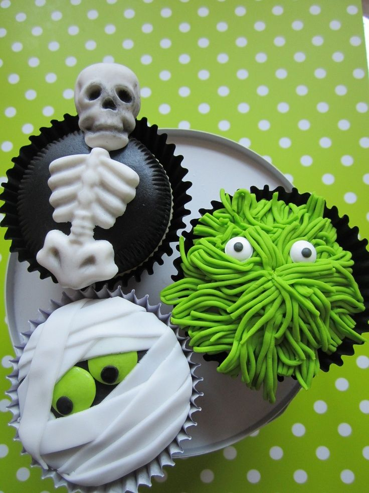 Green Halloween Cupcake Toppers