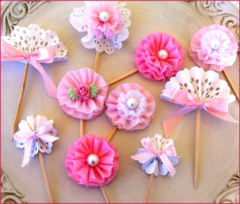 Handmade Flower Cupcake Toppers