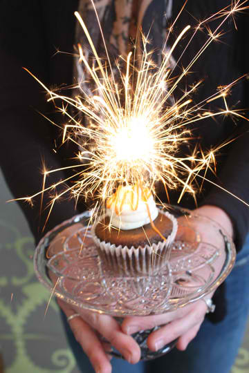 Happy New Year with Sparkler Cupcakes