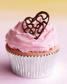 Lacy Chocolate Heart Cupcake Topper