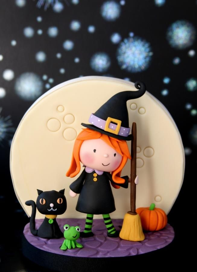 Little Witch with Her Friends Cupcake Topper