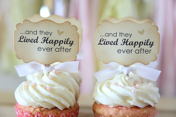 15 creative wedding cupcake toppers lived happily ever after cupcake topper junglespirit Images